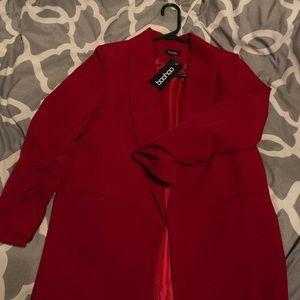 Boohoo Red Ruched Blazer